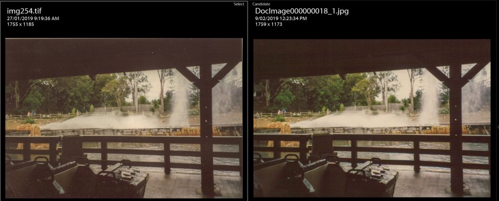 The comparison of the Kodak Rapid Scan and Epson Perfection scans after editing. On both, I can't bring out any more detail in the shadows.