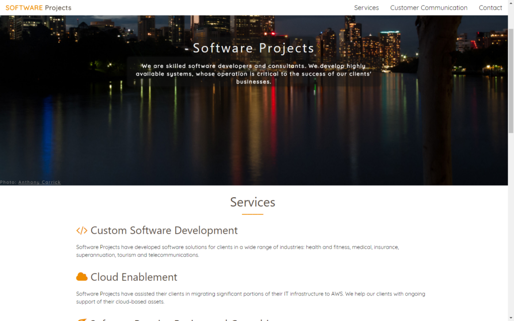 Software Projects Pty Ltd 2017 Website
