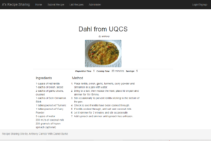 A screenshot of the recipe sharing site