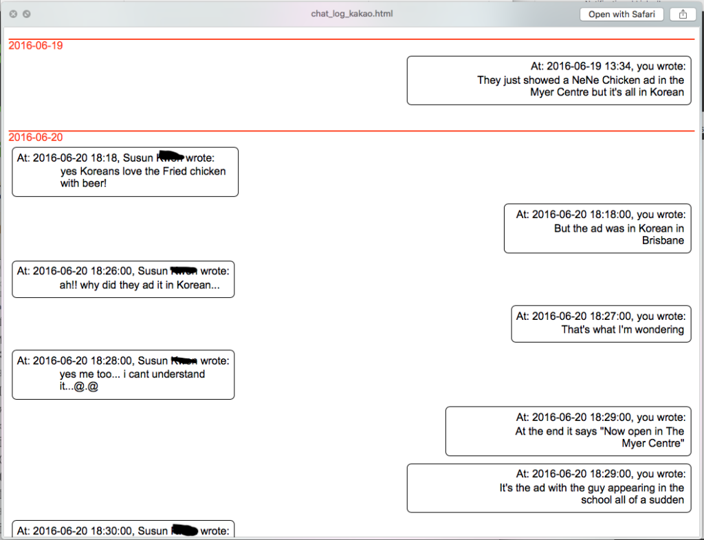 Screenshot of Chat Log with day grouping